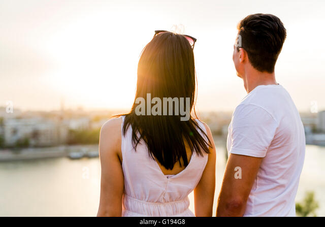 Happy couple in love smiling and being sensual - Stock-Bilder
