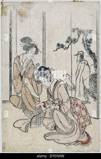 a screen depicting the Chinese sage Huang Shangping, By Hokusai, - Stock Image