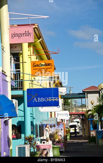 Antigua Heritage Quay dury free shopping area near cruise dock - Stock Image