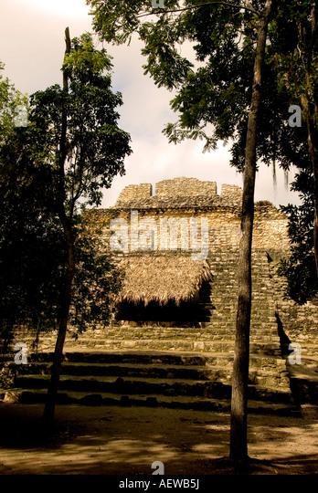 Costa Maya Chacchoben Mayan ruin Temple Pyramid Mexico - Stock Image