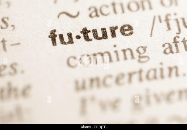 Definition of word future in dictionary - Stock Image