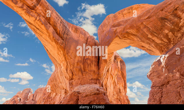Double Arch in the Arches National Park, USA. - Stock Image