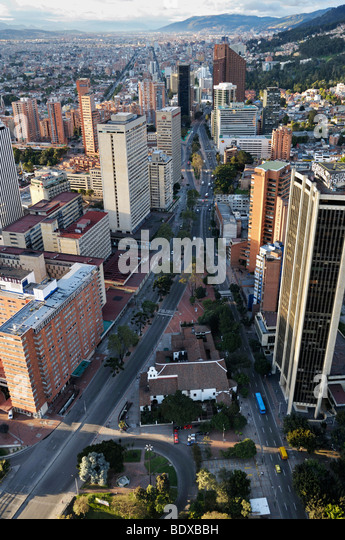 Aerial view of Bogotá, the Avenida Carrera Septima. - Stock Image