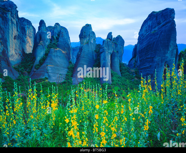 Rock Forms at Meteora, Meteora, Greece, Spires of welded tuff, UNESCO World Heritage Site - Stock Image