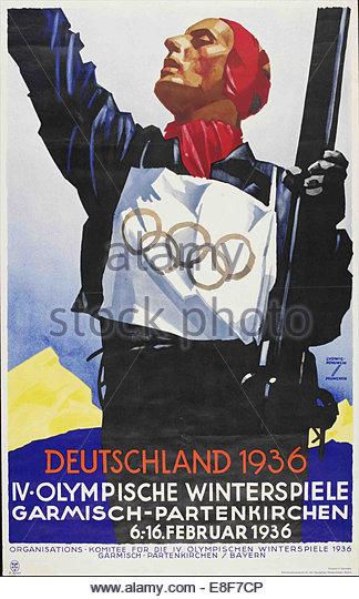 Official poster for the IV Olympic Winter Games 1936 in Garmisch-Partenkirchen. Artist: Würbel, Franz (1896 - Stock Image