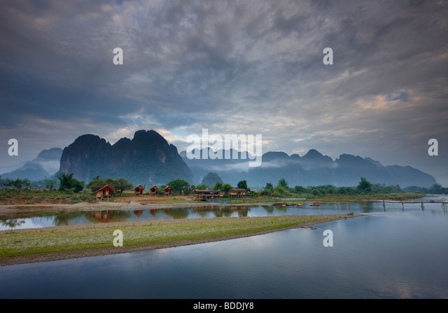 the Nam Song River at Vang Vieng, Laos - Stock Image