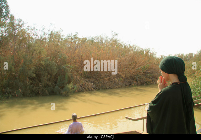 Jordan Valley, the Jordan river at Qasr al Yahud - Stock Image