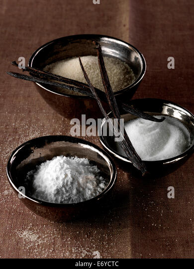 Assorted sugars and vanilla pods - Stock Image