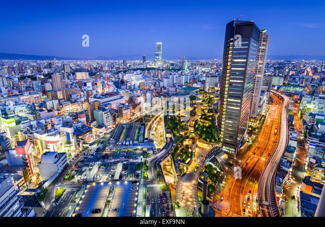 Osaka, Japan city skyline overlooking Namba District. - Stock Image