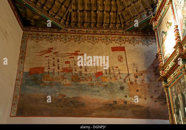 Wall paintings in the Church of Nuestra Señora de la Ascuncion, San Sebastian, La Gomera, Canary Islands, Spain - Stock-Bilder