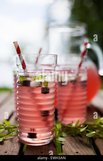 Homemade lemonade made from red berries - Stock Image