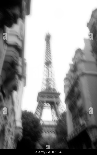 France Paris Eiffel tower black white blurred - Stock Image