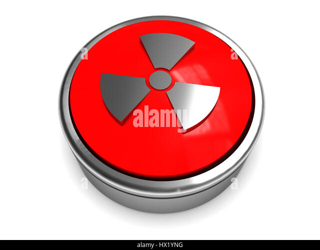 3d illustration of nuclear weapon fire button over white background - Stock Image