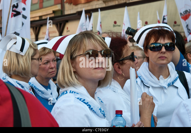 Polish nurses at European trade unions demonstration during meeting of EU finance ministers on Sep 17, 2011 in Wroclaw, - Stock Image