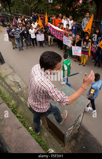 India, Himachal Pradesh, Shimla (Simla), ABVP Student Protest in front of District Commissioner's office - Stock Image