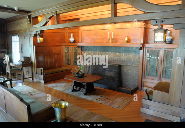 USA, California, Los Angeles, Living Room of The Gamble House in Pasadena American Arts & Crafts architecture - Stock-Bilder