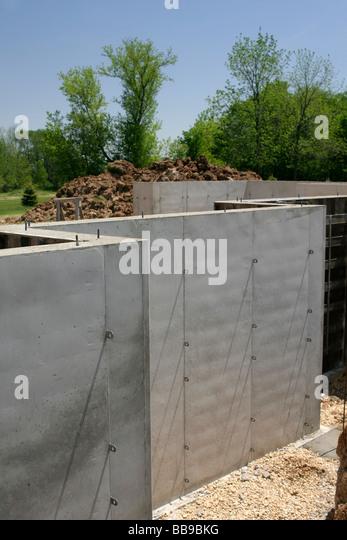 Concrete house basement stock photos concrete house for Poured basement walls