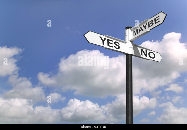 Concept image of a signpost with Yes No or Maybe against a blue cloudy sky - Stock Image