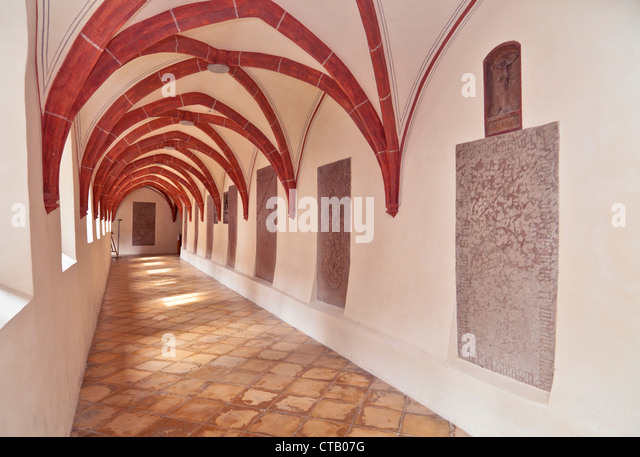Cloister, Seeon Abbey, Seeon-Seebruck, Chiemgau, Upper Bavaria, Germany - Stock Image
