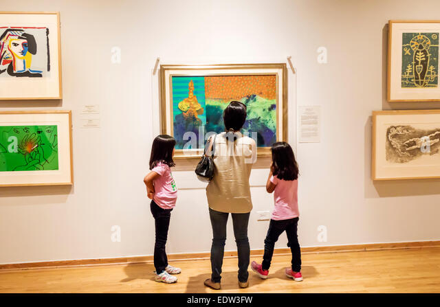 Chicago Illinois Lower West Side Pilsen National Museum of Mexican Art Hispanic Chicano gallery woman mother girl - Stock Image