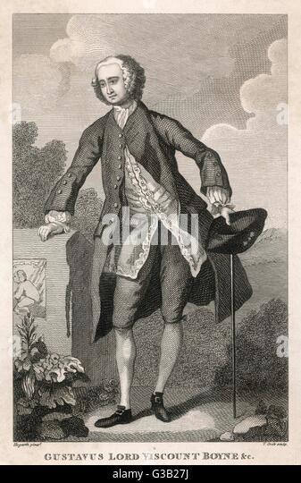 An 18th century English  aristocrat - Gustavus,  viscount Boyne        Date: circa 1740 - Stock Image