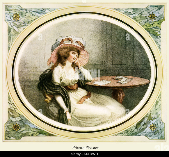 Private Pleasure Regency print of a lady at home composing a letter by William Ward and engraved by John Henry Ramberg - Stock Image