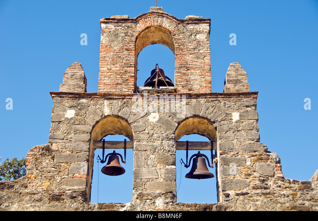 Mission Espada bell tower San Antonio Texas tx Missions National Historical Park us national park service san antonio - Stock Image