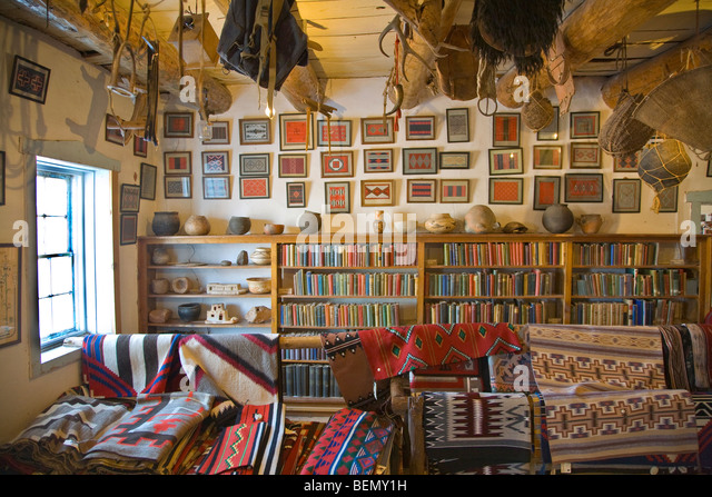 Inside the rug room at Hubbell Trading Post National Historic Site, Navajo Indian Reservation, Ganado, Arizona, - Stock Image