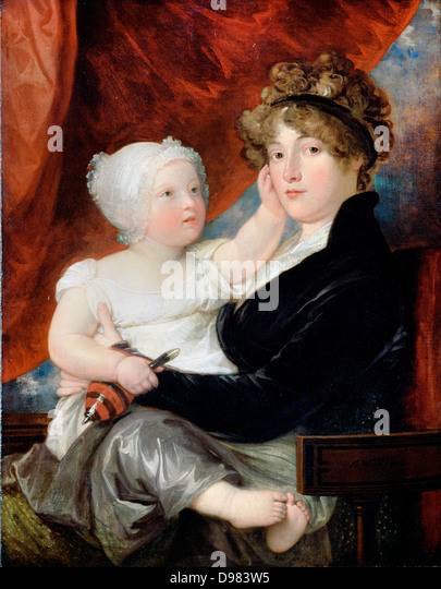 Benjamin West, Mrs Benjamin West II with her son Benjamin West III 1805 Oil on canvas. Dulwich Picture Gallery, - Stock Image