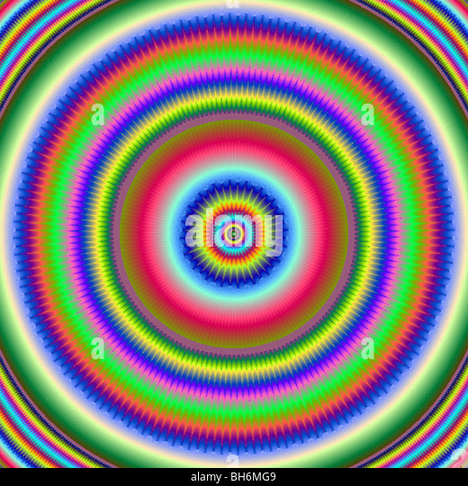 fractal circles digital art - Stock Image