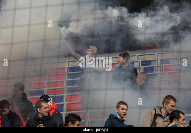 Moscow, Russia. 12th Apr, 2017. Emergencies Ministry's fire drill at CSKA Arena in Moscow Credit: Nikolay Vinokurov/Alamy - Stock Image