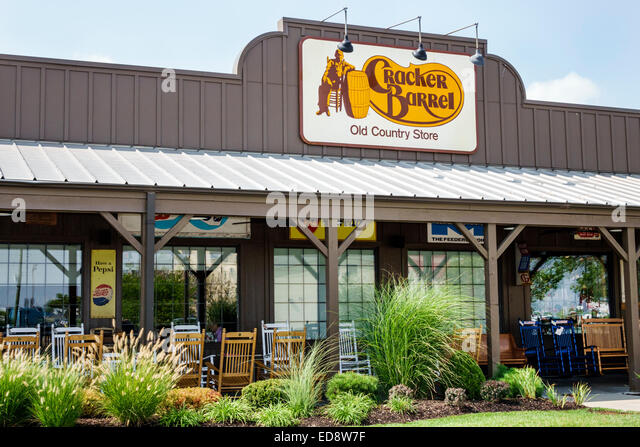 Illinois Troy Cracker Barrel Restaurant and Old Country Store American chain exterior entrance company logo brand - Stock Image