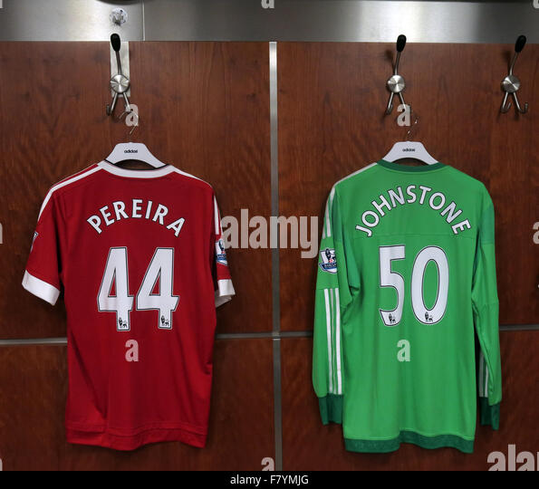 Pereira & Johnstone players shirts,in MUFC dressing room, Old Trafford, Manchester, England - Stock Image