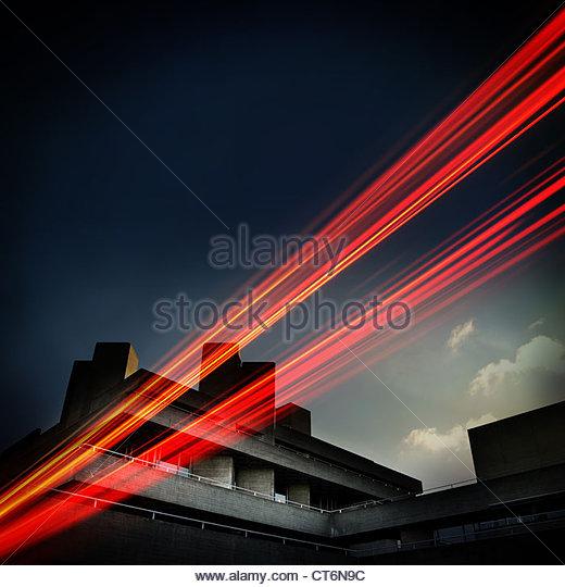 urban city car light trails - Stock Image