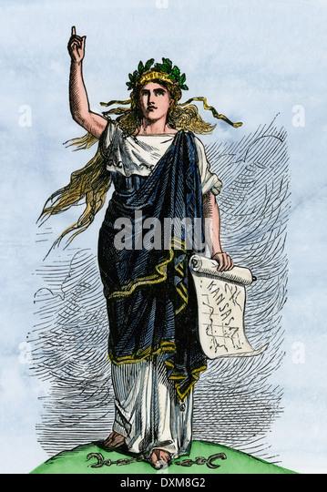 Liberty for Kansas, an antislavery symbol during the Free Soil debates, 1850s. - Stock-Bilder