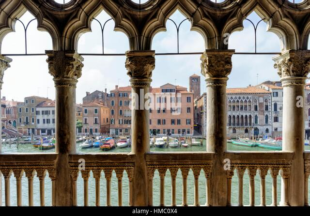 View of the Grand Canal from Ca´ d´Oro. Ca´ d´Oro (correctly Palazzo Santa Sofia) is a palace - Stock Image