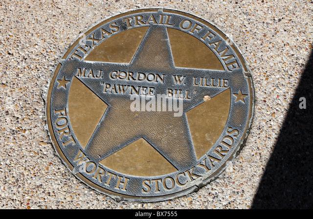sidewalk commemoration Pawnee Bill, Texas Trail of Fame; Fort Worth Stockyards - Stock Image