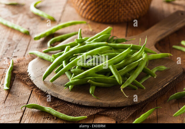 Raw Organic Green Beans Ready to Eat - Stock Image