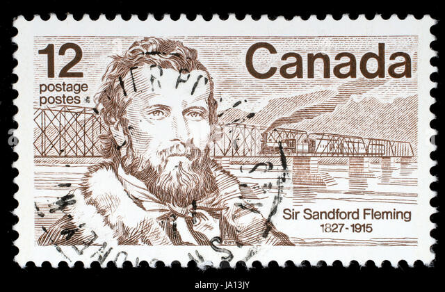 CANADA - CIRCA 1977: A stamp printed in Canada shows Sir Sandford Fleming, a Canadian engineer who designed Canada's - Stock Image
