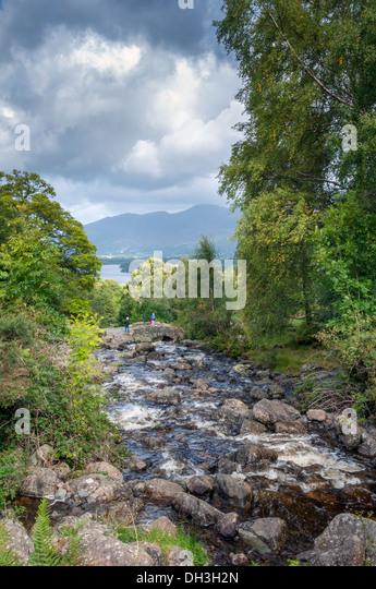 Ashness bridge, Lake district beauty spot, Cumbria, September UK - Stock Image