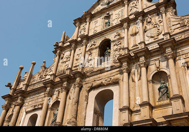 Ruins of St. Paul's Cathedral, Macau, China - Stock Image