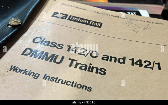 British Rail Class 142 DMMU Train Working Instructions manual - Stock Image