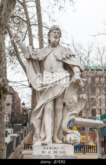 Madrid, Spain - february 26, 2017: Sculpture of Ramiro I of Asturias at Plaza de Oriente, Madrid. He was King of - Stock Image