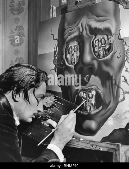 SALVADOR DALI  (1984-89) Spanish artist working on his painting The Face of War in the US in 1940 - see Description - Stock Image