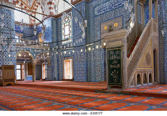 Turkey, Middle East, Istanbul, Interior of Rustem Pasha Mosque - Stock Image