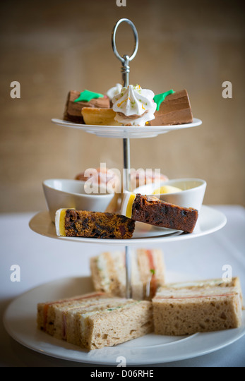 Afternoon tea and cakes. - Stock Image