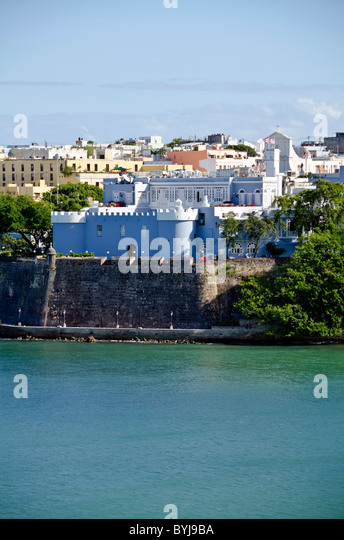 La Fortelaza governors mansion Old San Juan Puerto Rico as seen from sea ship channel - Stock Image