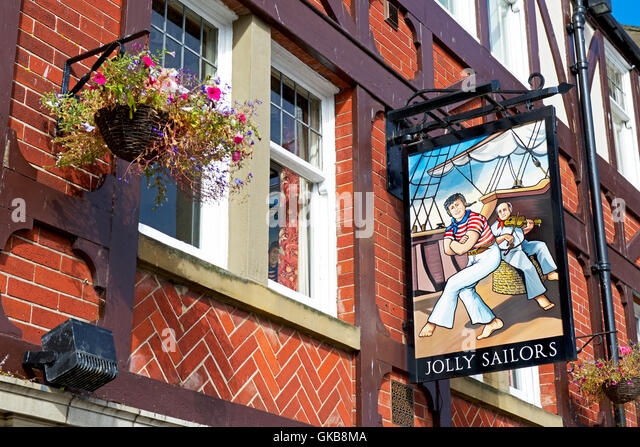 Sign for the Jolly Sailor pub, Whitby, North Yorkshire, England UK - Stock Image