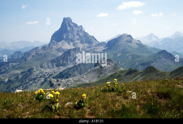 Pic du Midi d'Ossau from the Pic d'Astu, Pyrenees, France - Stock Image
