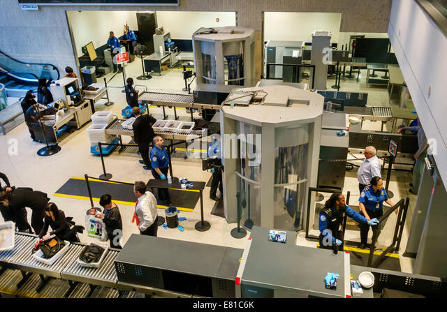 New York New York John F. Kennedy International Airport JFK terminal concourse gate area security TSA body scanner - Stock Image